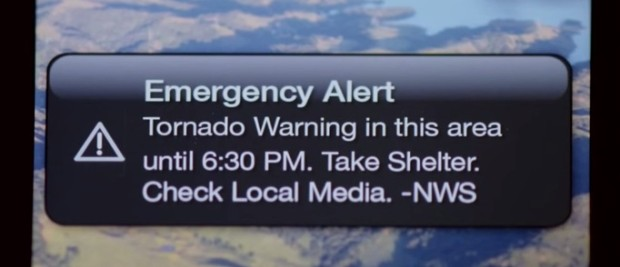 This is a sample iPhone Tornado Warning from the National Weather Service.