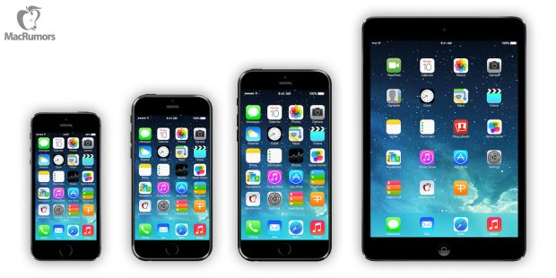 iPhone 5s vs. iPhone 6 concept vs. iPhone 6 concept vs. iPad mini.
