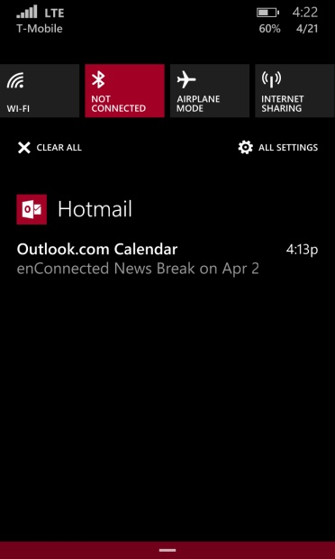 Windows-Phone-8.1 action center
