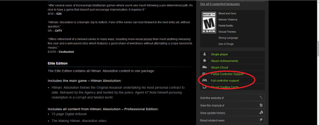 What to look for when trying to find games with controller support on Steam.