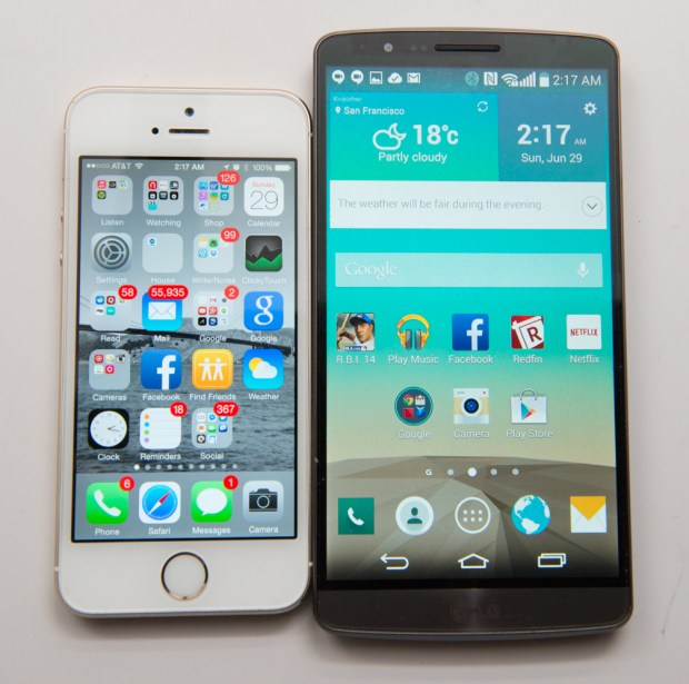 LG G3 Review unit next to iPhone 5s