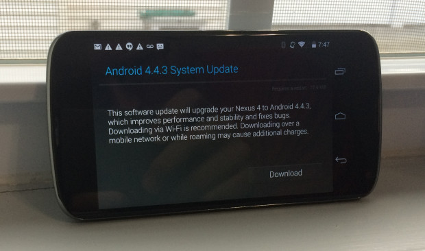 If you want ot install the Nexus 4 Android 4.4.3 update make sure you give yourself time to deal with any issues.