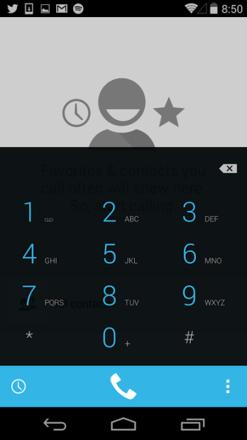 The dialer in Android 4.4.2 KitKat.