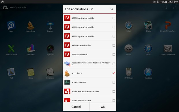 app customization settings on parallels access on android
