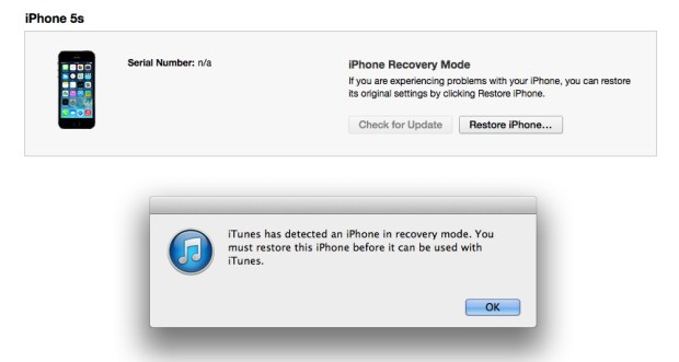 iTunes recognizes the iPhone in recovery mode, and is ready for an iOS 8 to iOS 7 downgrade.