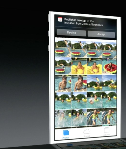 An example of actionable notifications in iOS 8.