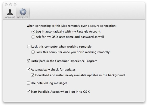 parallels access mac client settings