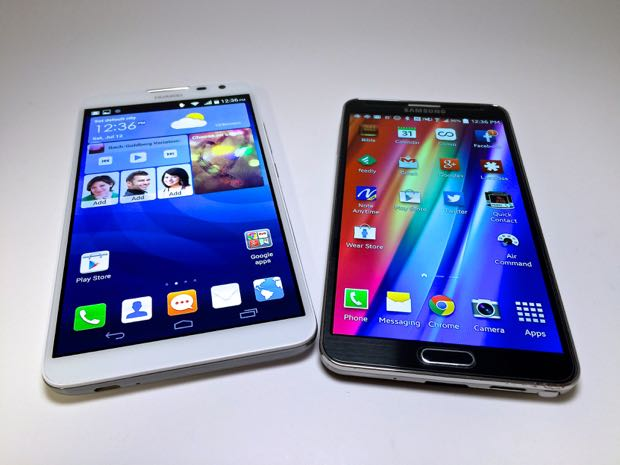 huawei ascend mate2 4g and samsung galaxy note 3