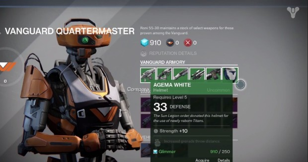 Visit the Vanguard Armory if you use the Destiny pre-order to get special weapons and gear.