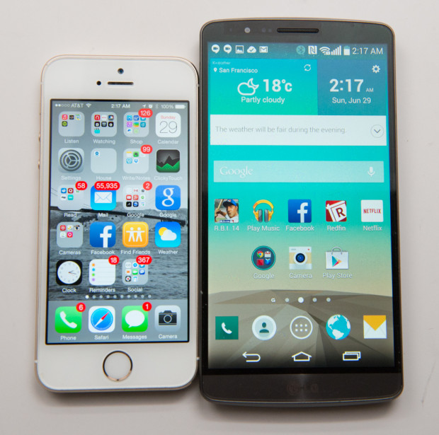The iPhone 5s next to a 5.5-inch display on the LG G3.