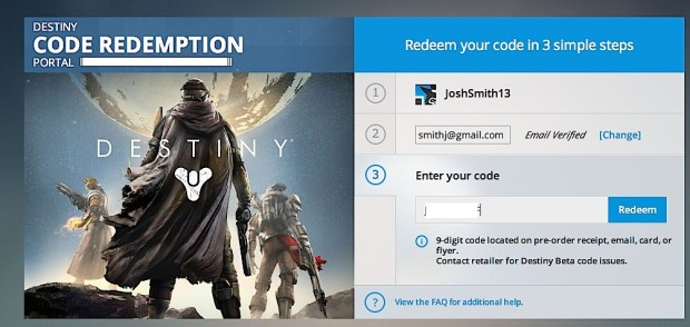 Enter your 9-digit Xbox 360 and Xbox One Destiny beta code.