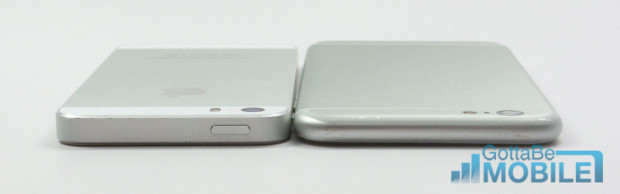 The iPhone 6 design shows more curves and new button placement from the iPhone 5s.