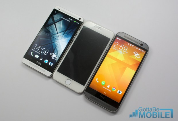 The 4.7-inch iPhone 6 matches the HTC One in size and is smaller than the new HTC One M8.