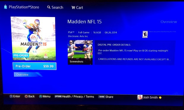 There is no digital PS4 Madden 15 Ultimate edition listed yet.