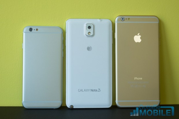 The Galaxy Note 3 is bigger than a 4.7-inch iPhone 6, but smaller than a 5.5-inch model.