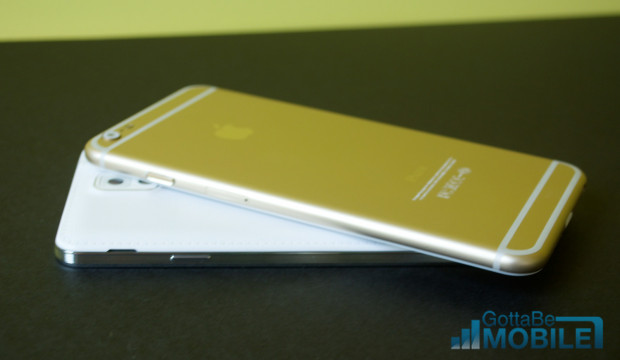 The iPhone 6 design is metal and the Galaxy Note 3 is plastic with a fake leather look.