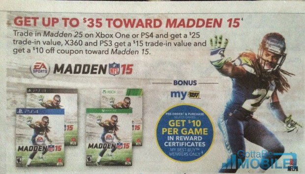 Madden 15 deals cut the price to $15 with a Madden 25 trade and a free Best buy membership.