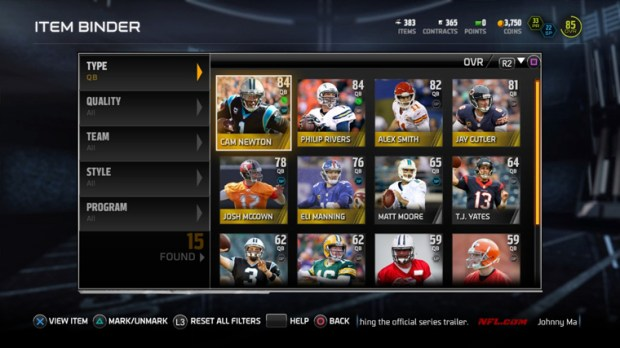The Binder solves many of the Madden Ultimate Team problems for Madden 15.