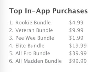Sample Madden iPhone in app purchases.