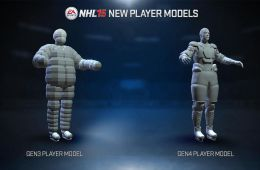 An NHL 14 vs NHL 15 player model screenshot shows the more realistic hockey players in NHL 15.