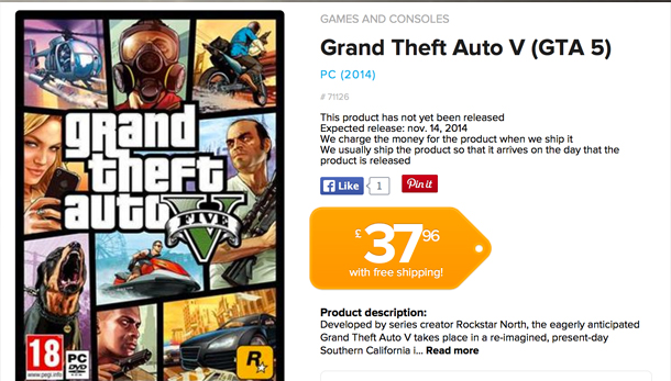 The PC GTA 5 release date is also listed as November 14th, by another retailer.