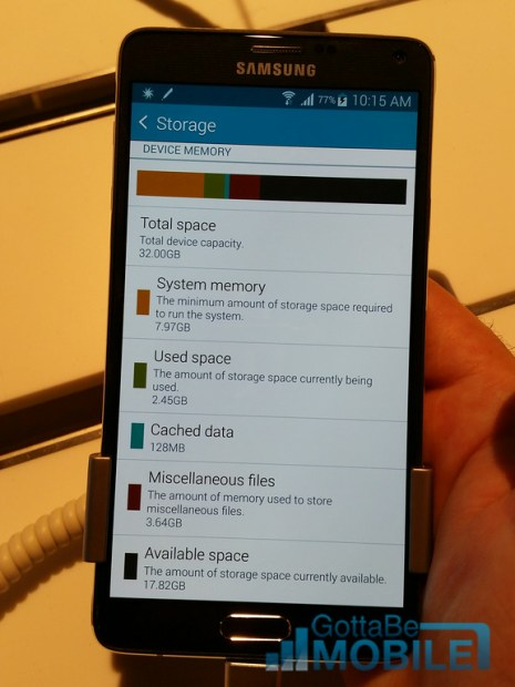 Galaxy Note 4 storage space.