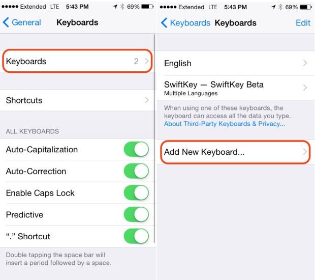 Add a new keyboard to iOS 8.