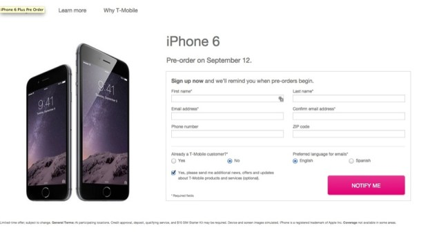 T-Mobile will take your info, but not your iPhone 6 order...yet