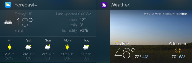 Choose an iOS 8 weather widget.