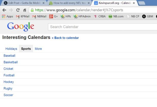 google calendar football