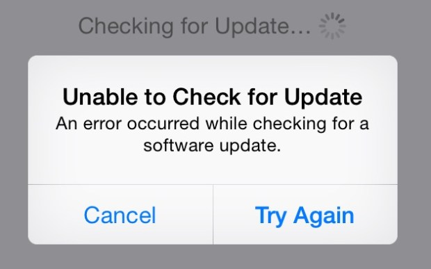 iOS 8 Error can't find the update to start downloading iOS 8.