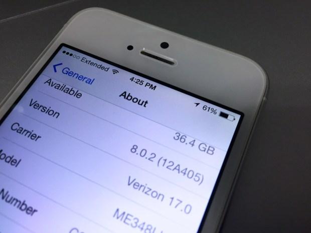 Installing iOS 8.0.2 on the iPhone 5s is straightforward.