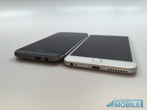 The HTC One M8 is slightly thicker, thanks to a curved back.