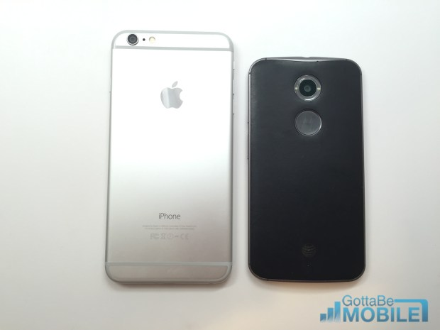 The iPhone 6 Plus is larger than the Moto X.