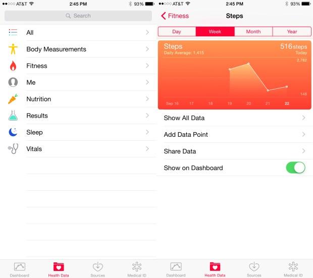 Setup the iOS 8 health app.