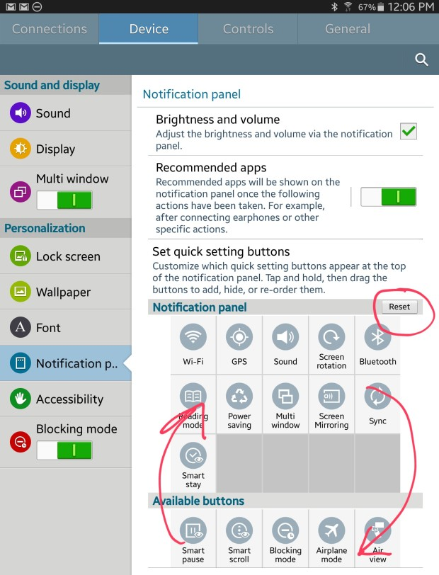 notification panel customization