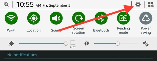 open settings on note 10