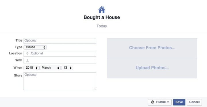 Go back and add important milestones to Facebook.