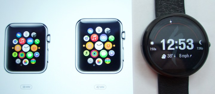 Comparing the Apple Watch vs Moto 360 sizes. These photos compare actual size Apple Watch images to the real Moto 360.