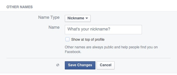 Add a maiden name or a nickname to Facebook.