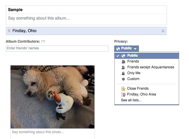 Share a Facebook album so others can add to it or make an album private.