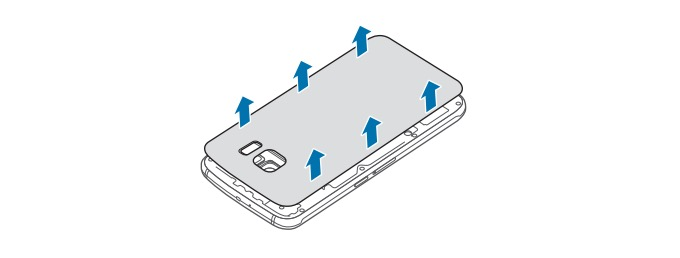 Take the back cover off the Galaxy S6.