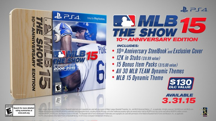 Here's what you get in the MLB 15 The Show 10th Anniversary Edition.