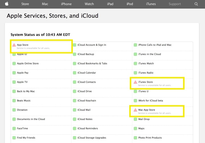 apple app store and itunes store down