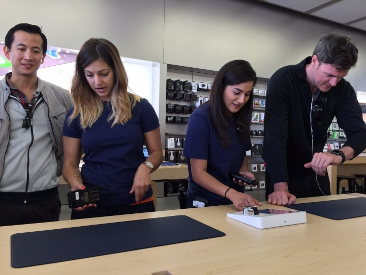 Make an appointment to try on the Apple Watch.