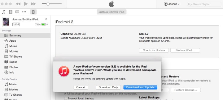 This is how to install the iOS 8.3 update form iTunes.