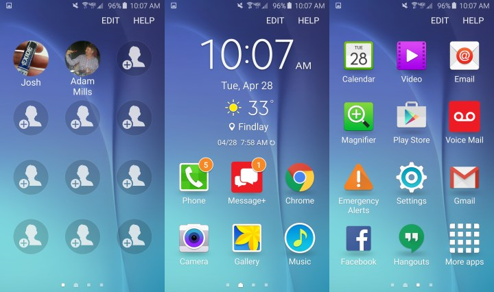 This is the Galaxy S6 Easy Mode home screen.