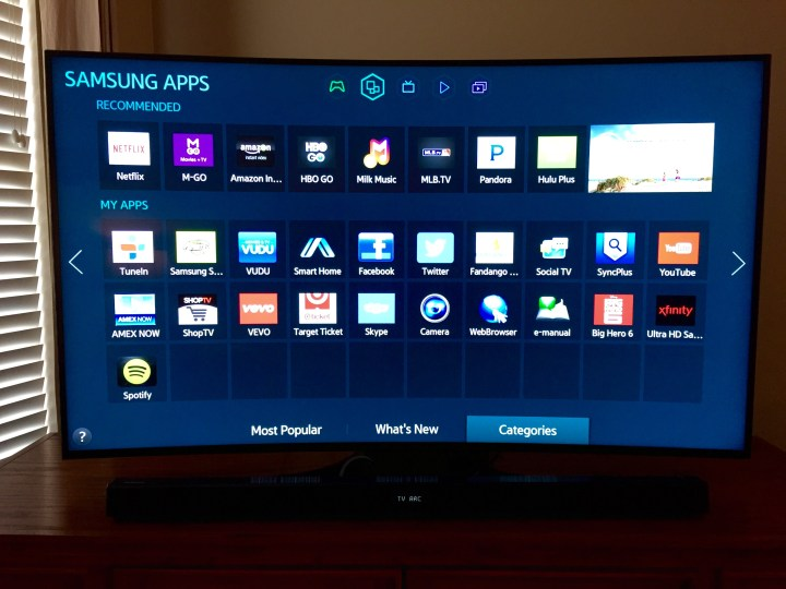 The Samsung Smart TV beats the Apple TV even in this Apple house.