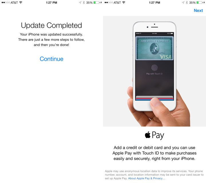 If prompted enter your Apple ID password and choose to set up or skip Apple Pay.