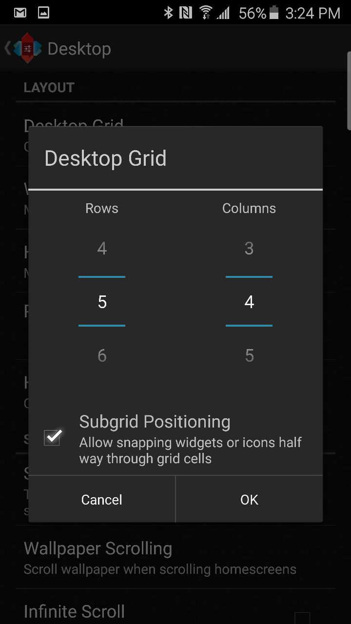 nova launcher gride size settings
